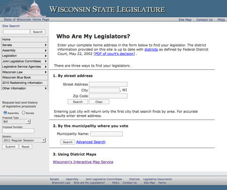 Wisconsin Legislator website